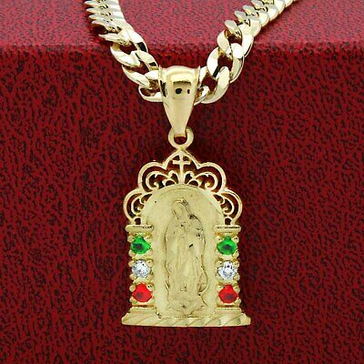 Mens 14k Gold Plated Brass Mexican Color Guadalupe Pendant 6mm 24