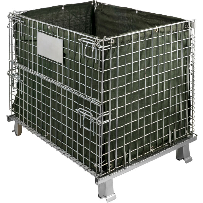 Folding Wire Container 48 x 40 x 35 inch, 1000 Lbs Capacity Wire Mesh 2 x 2 inch