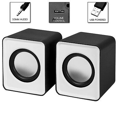 USB Powered 2.0 Portable Mini Stereo Speakers for Computers - White by Frisby
