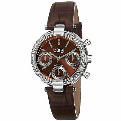 New Women's Burgi BUR129BR Brown Diamond Swiss Multifunction Leather Strap Watch