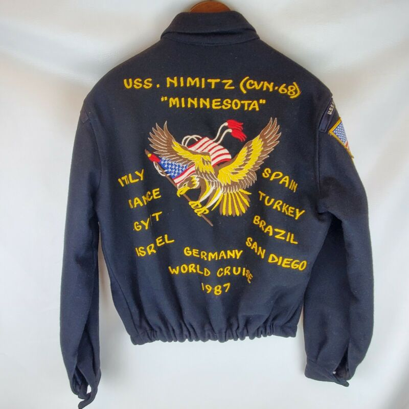 1987 US Navy USS Nimitz (CVN-68) Wool World Cruise Jacket Embroidered w/ Patches
