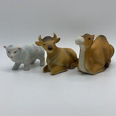 VINTAGE HOMCO HOME INTERIORS 3 PIECE ANIMAL NATIVITY SET #5552 CAMEL SHEEP OX
