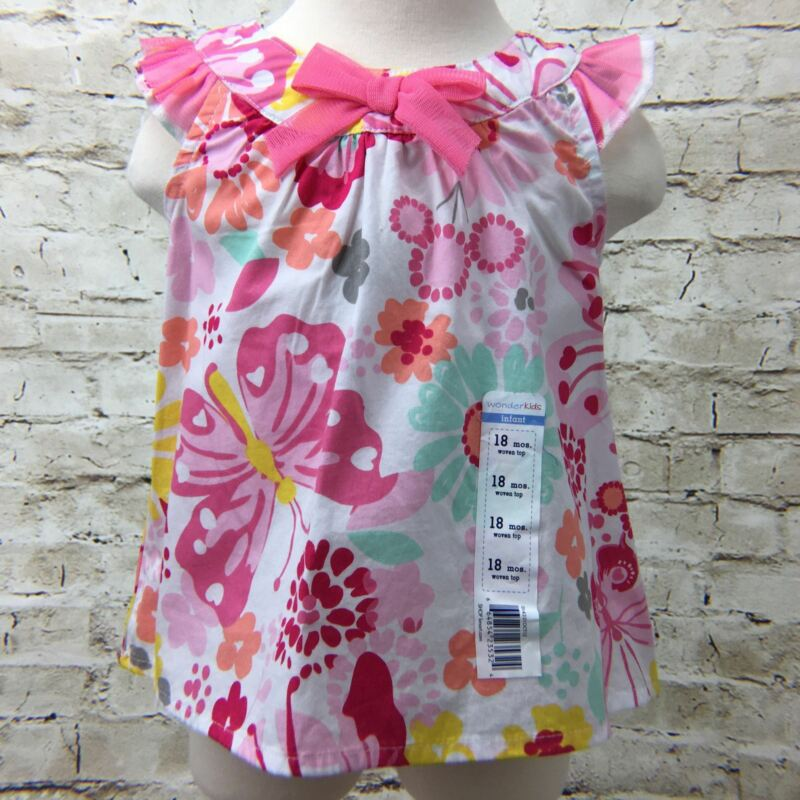 Baby Girls Top 18M White Top Floral Sleeveless Ruffles Pink Bow WonderKids Nwt