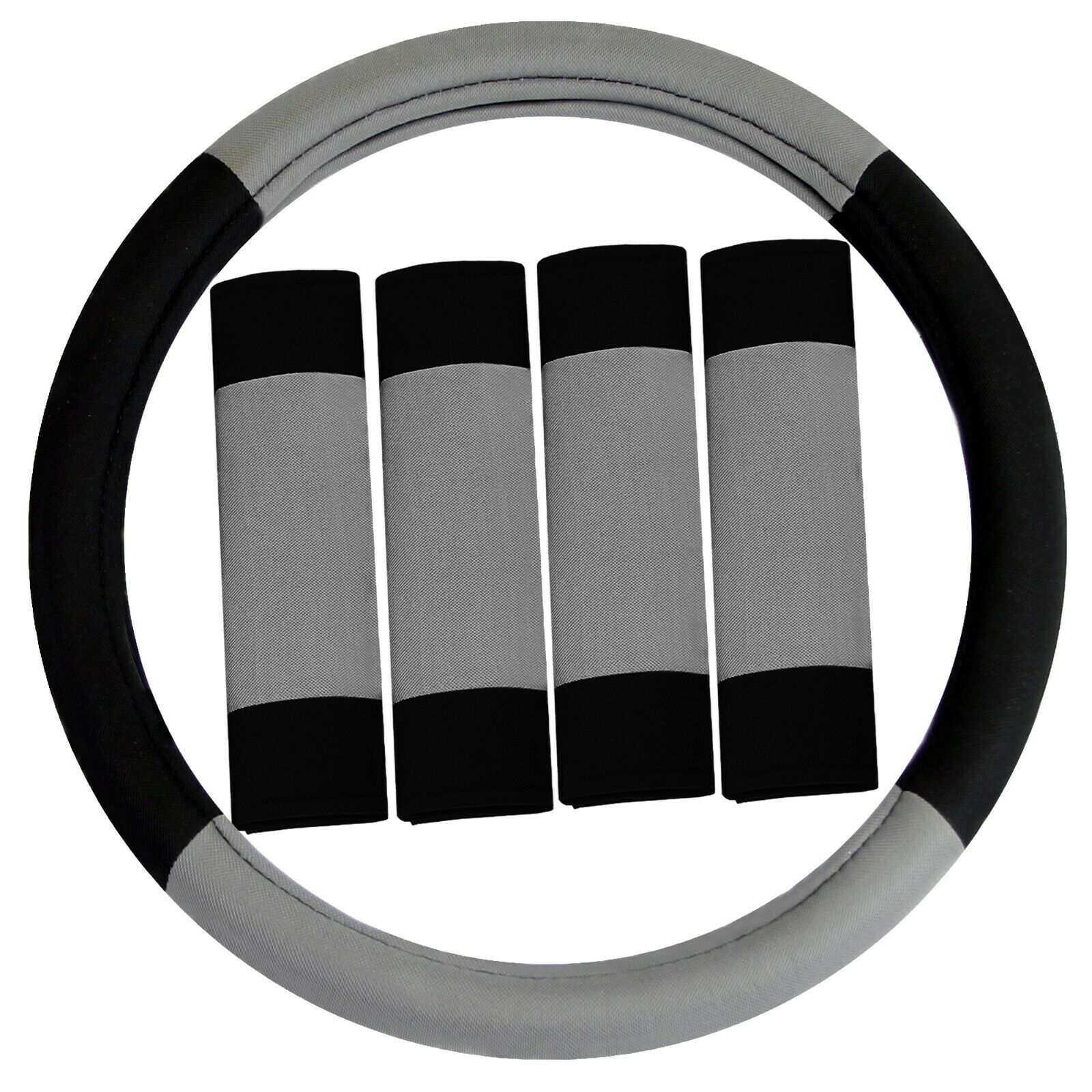 Universal Modernistic Car Steering Wheel Cover and Seat Belt Pads