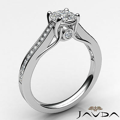 Cushion Cut Diamond Channel Set Engagement Ring GIA H SI1 18k White Gold 1.03Ct 1