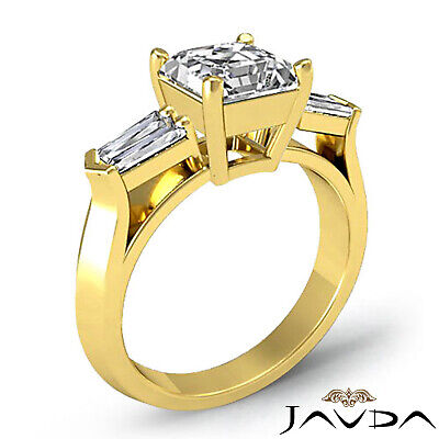 3 Stone Flashy Asscher Cut Diamond Engagement Ring GIA G SI1 Platinum 950 1.5 ct 4