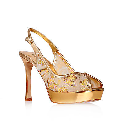 HELLSFIRE2 NINE WEST FABRIC GOLD WOMENS LADIES SHOE