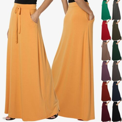 TheMogan S~3X Drawstring Waist Pocket Drapey Jersey A-Line Long Maxi Skirt