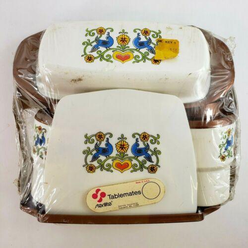VTG Sterilite Tablemates Blue Bird Salt Pepper Napkin Butter Holders NOS NEW