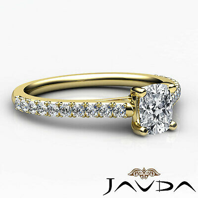 100% Natural Cushion Diamond Engagement Prong Set Ring GIA F Color VS1 0.75 Ct 9