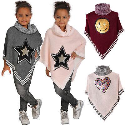 Mädchen Stern Poncho Wende Pailletten Rollkragen Pullover Schalkragen Kinder - Rollkragen Pullover Schal