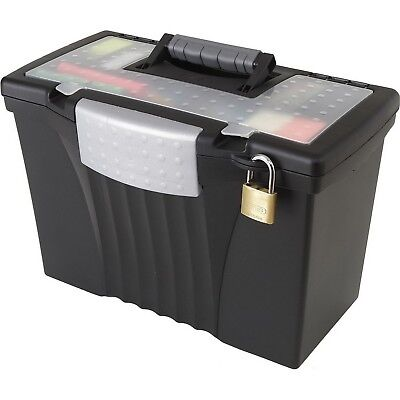Portable Locking File Storage Box With Organizer Lid Letter Legal Size Black