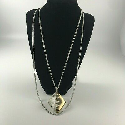 Vintage eighties necklace white chain link two tier white pendant gold tone