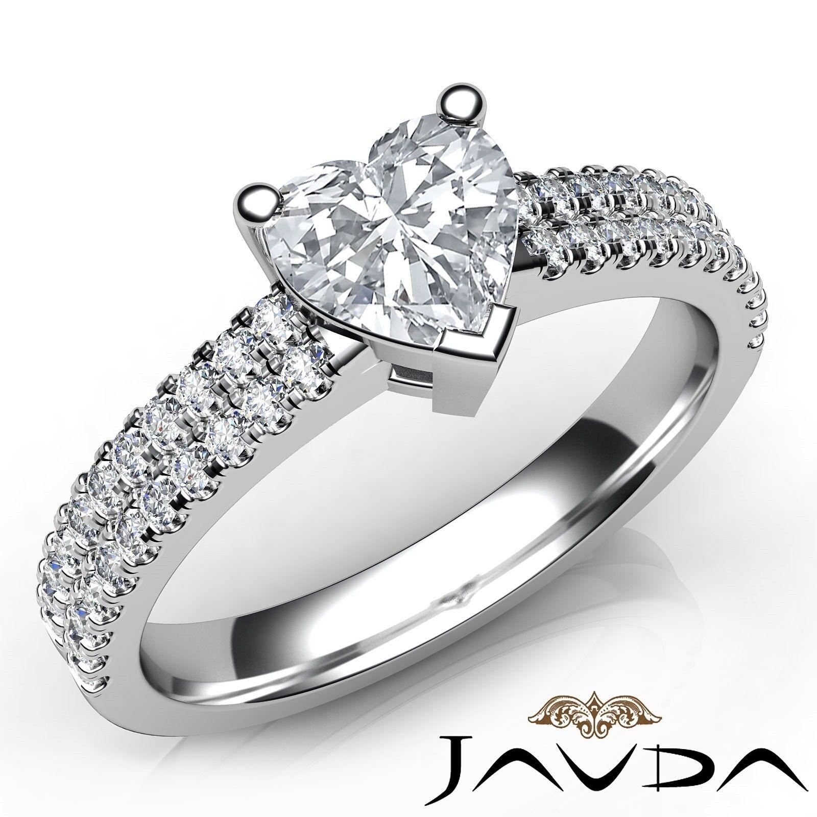 1.5ctw 2 Row Shank Sidestone Heart Diamond Engagement Ring GIA I-VS2 White Gold