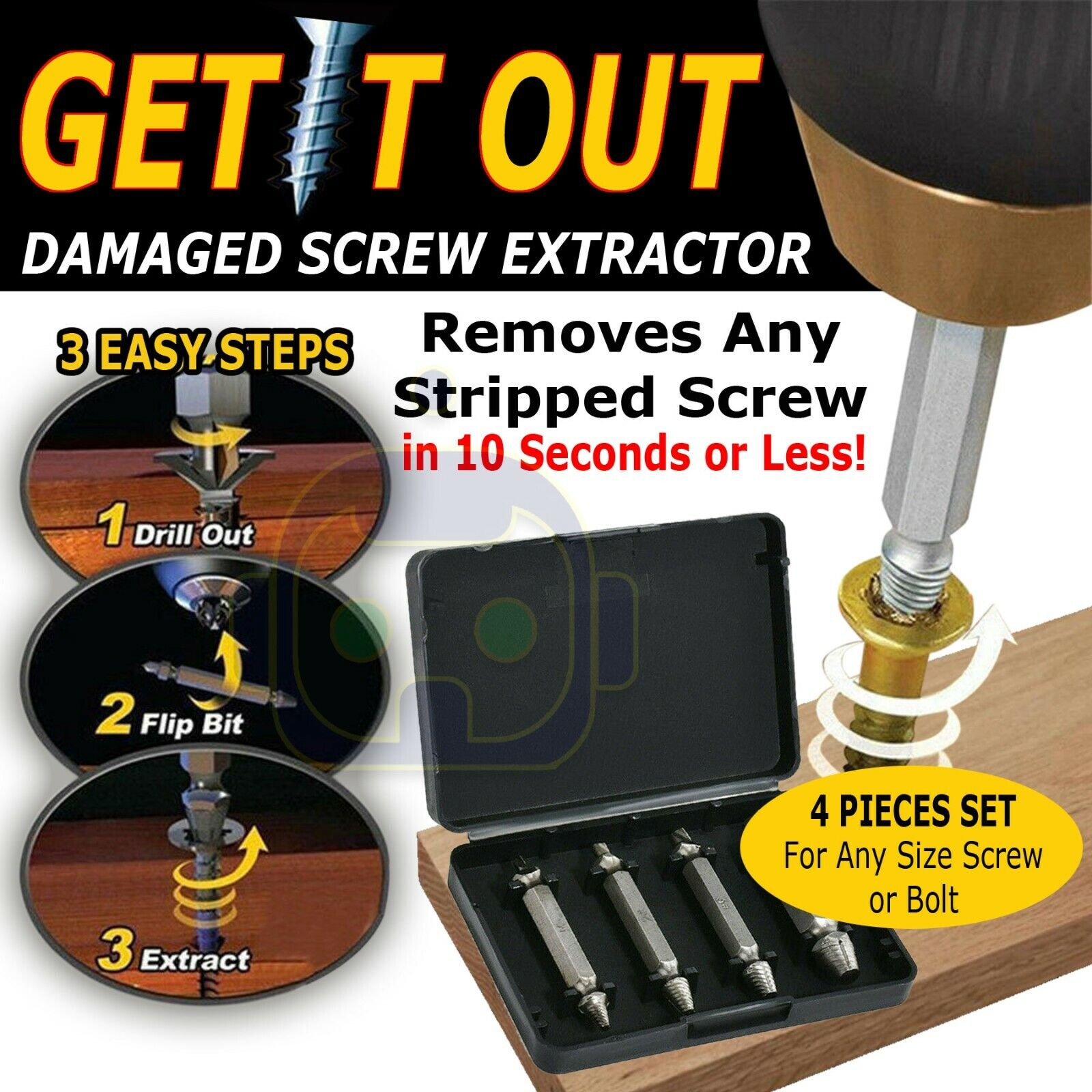 Damaged Screw Extractor Get It Out Drill Bits 4 PCS Tool Set Broken Bolt Remover
