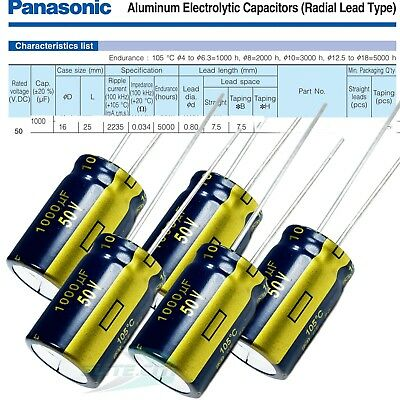 Panasonic Fc 1000uf 50v 105c Radial Electrolytic Capacitor Low Esr 5000hr Pack