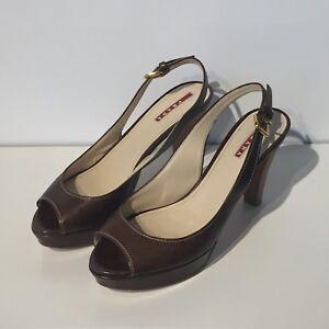 Prada Linea Rossa peep-toe slingback platform heels