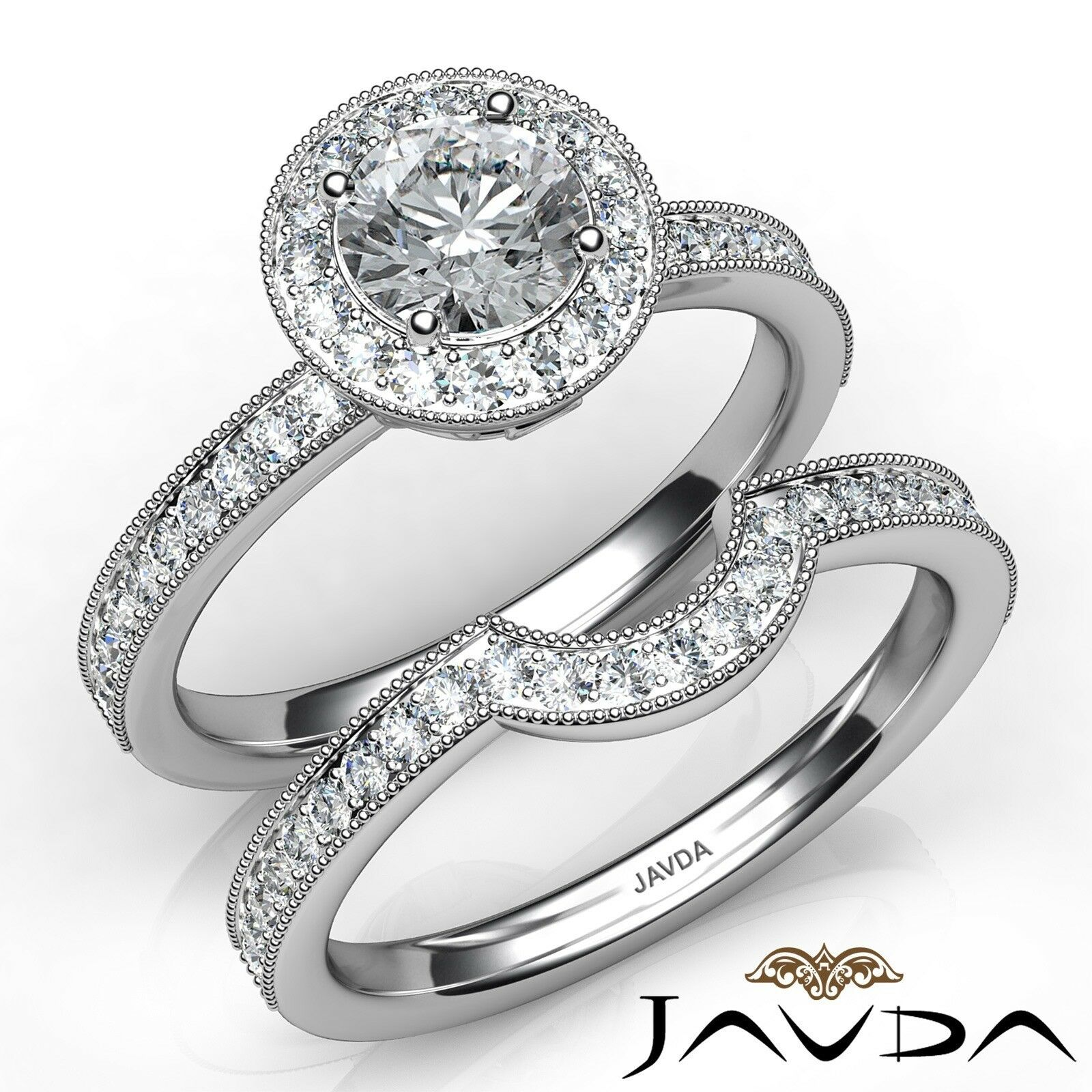 1.45ctw Halo Pave Milgrain Bridal Round Diamond Engagement Ring GIA E-VS1 Gold