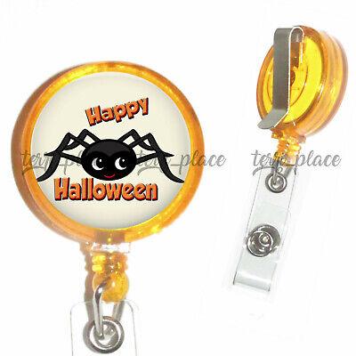 Happy Halloween Spider Identification Badge Holder Reel Retractable Work Id