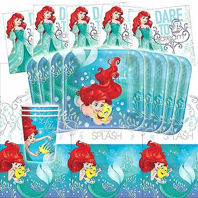 Disney Ariel Dream Big Little Mermaid Birthday Party Tableware Pack Kit For 16