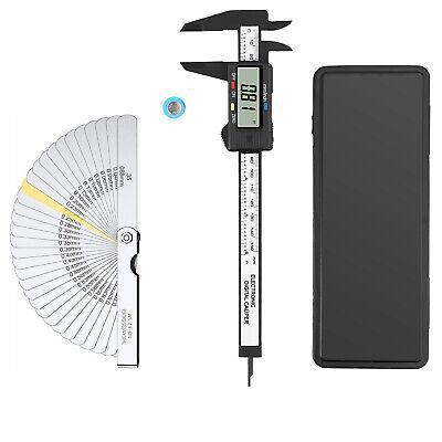 6 Inch Micrometer Digital Caliper Set W 32 Blades Stainless Steel Feeler Gauge