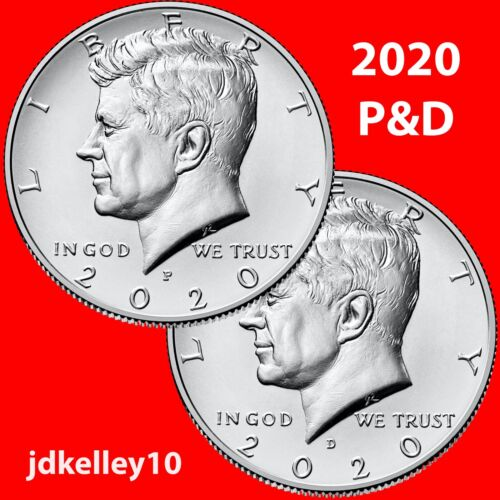 2020 P&D KENNEDY HALF DOLLAR 50c CLAD TWO COIN SET UNCIRCULATED COINS