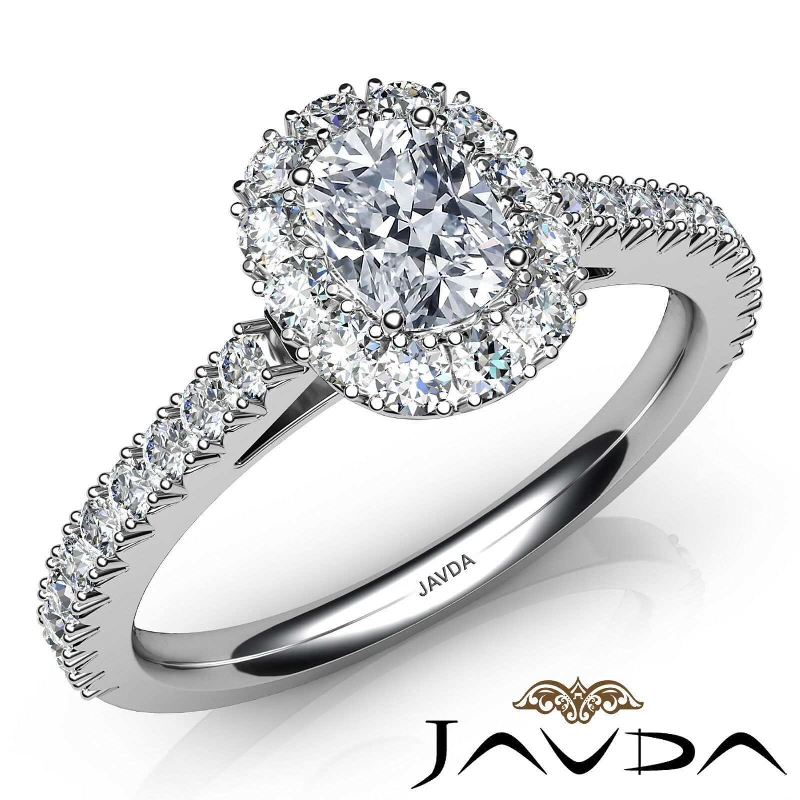 1.5ctw French Pave Set Halo Cushion Diamond Engagement Ring GIA J-VS2 White Gold