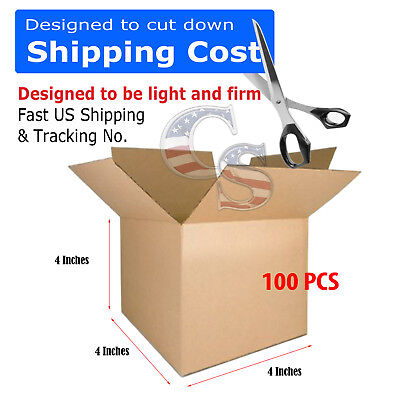 100 4x4x4 Cardboard Packing Mailing Moving Shipping Boxes Corrugated Box - 4x4x4 Boxes