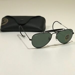 942093595 New Ray-Ban Outdoorsman Black RB3030 L9500 58-14 Green Classic G15 lens