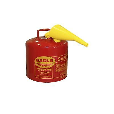 Eagle Ui-50-fs Red Galvanized Steel Type I Gasoline Safety Can With Funnel 5 Gal
