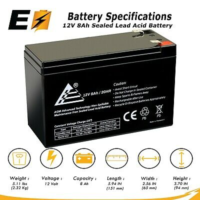 12 Volt 8 Amp (8Ah) VRLA AGM Sealed Lead Acid Rechargeable Battery
