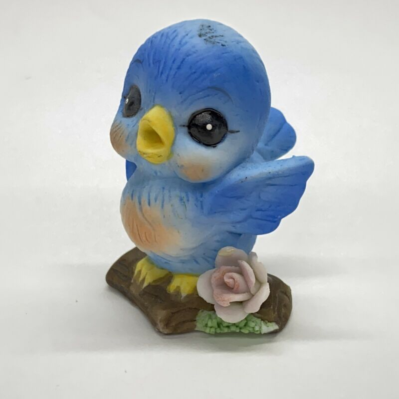 "Vintage 2"" Baby Bluebird With Rose Porcelain Bisque Figurine Made in Taiwan"