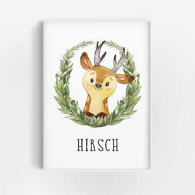 Bild Hirsch Kunstdruck A4 Wald Tiere Blumen Kranz Kinderzimmer Deko Druck