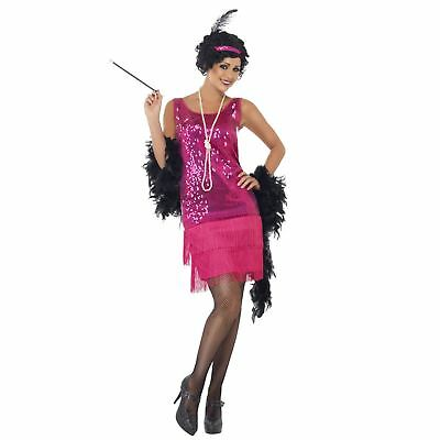 Adult Ladies Funtime Flapper Gatsby Girl 20s Hot Pink Sequin Fancy Dress Costume](Shot Girl Costume)