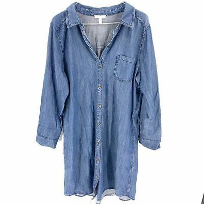 Eileen Fisher shambre full button up dress size L