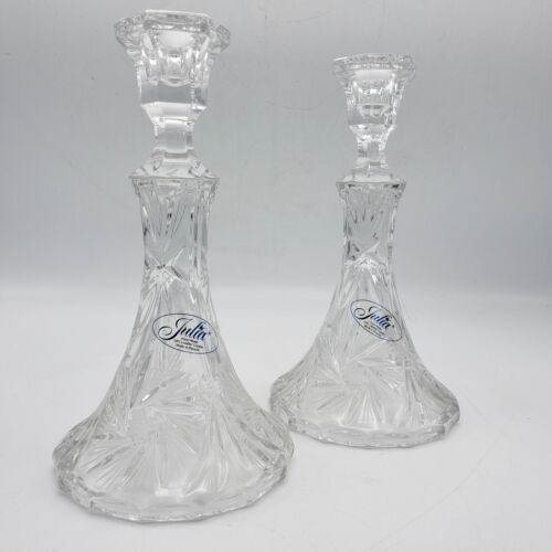 """Antique Pair of Julia Etched Glass Starburst Candlesticks with Flared Base ~ 8"""""""