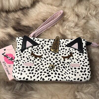 NWT Betsey Johnson Double Pouch Wristlet - Unicorn Cat