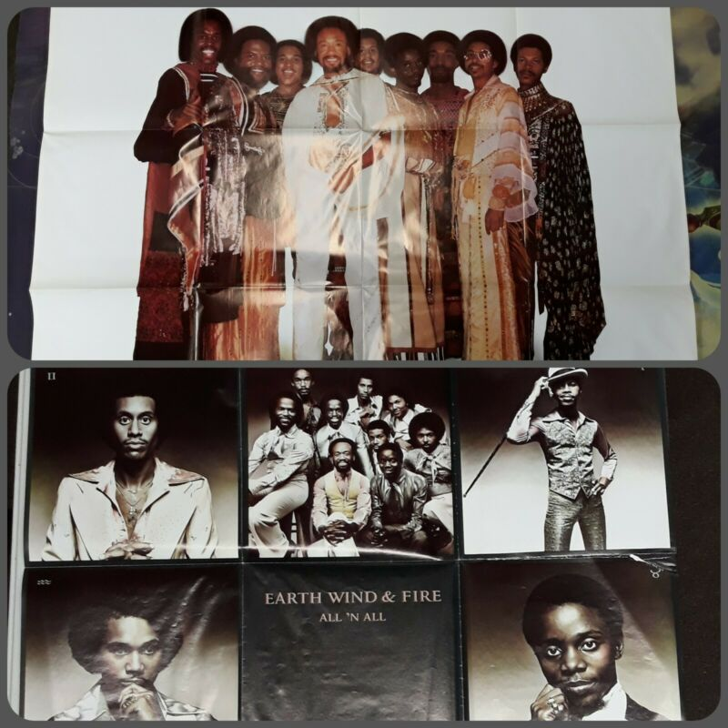 Vintage EARTH WIND & FIRE ALL & ALL 1977 / FACES 1980 Poster LOT