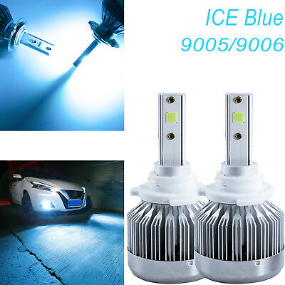 (Pair Ice Blue 8000k 6000 Lumens Super Cool Bright COB Chips 9005 LED Headlight)