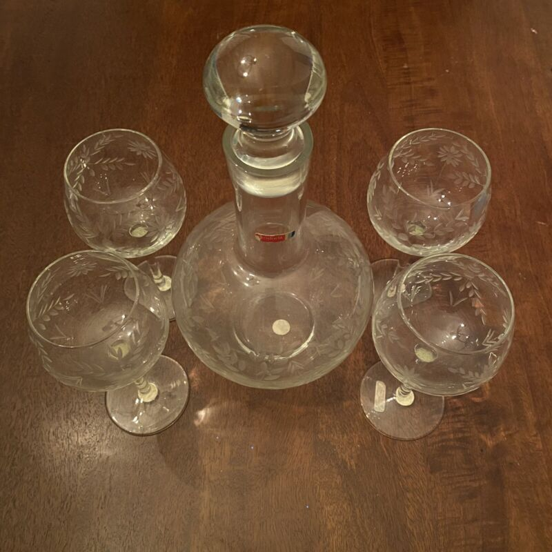 RARE Fostoria Glass WINE DECANTER SET- Clear Etched Glass