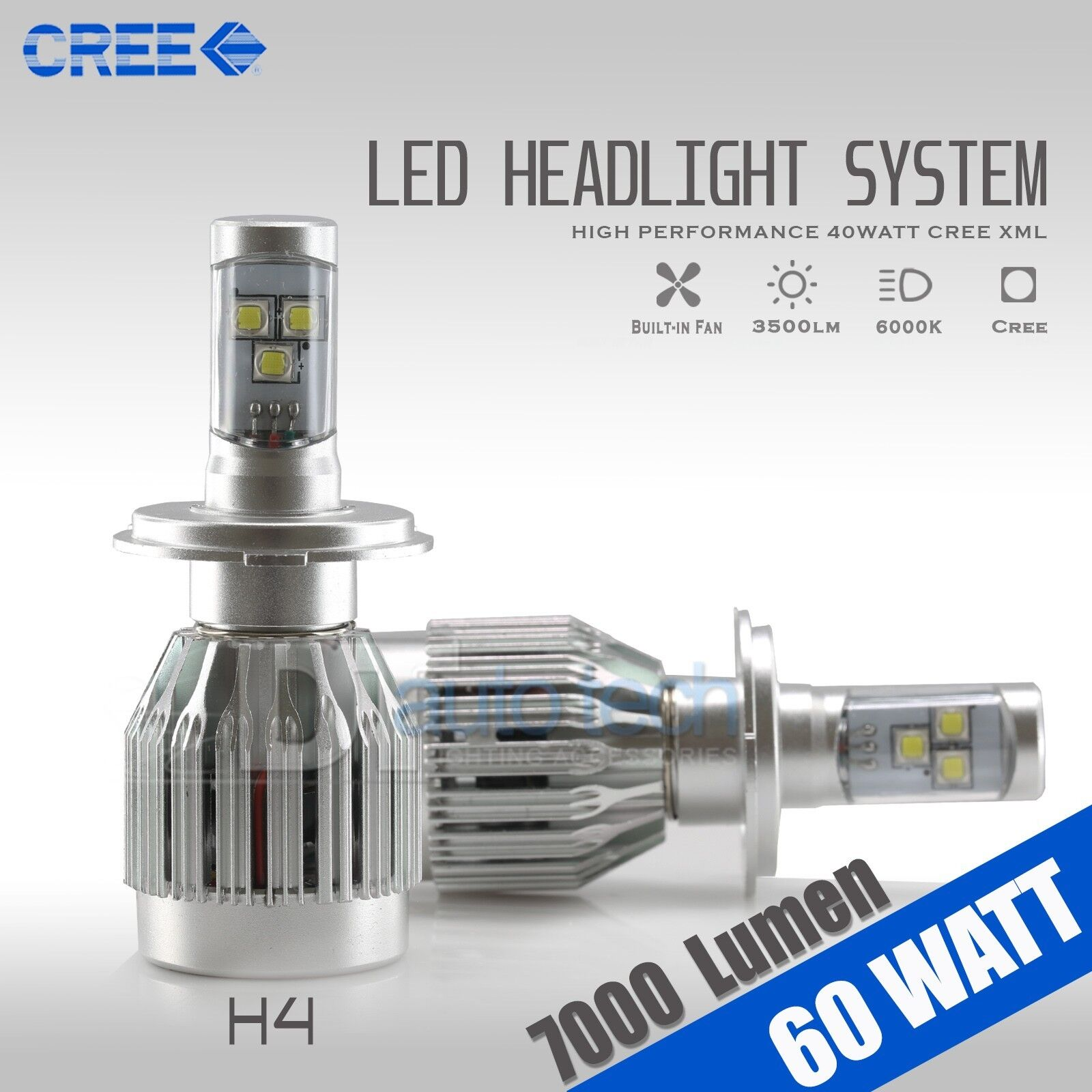 60w 7000lm Cree Led 9003 H4 Headlight High Low Beam Bulbs