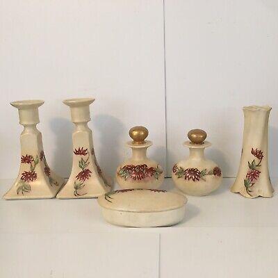 stunning vintage 3 piece French porcelain vanity set  bathroom set