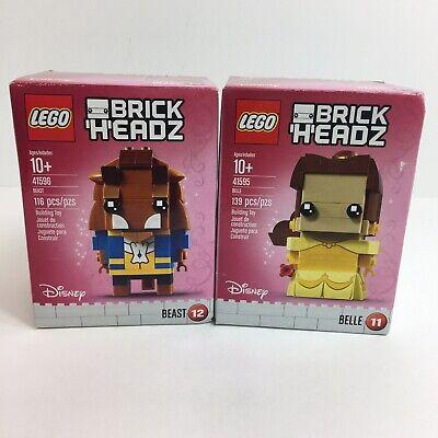 Lego Disney Brickheadz Beauty And The Beast Belle 41595 Beast 41596 Lot Of 2 D