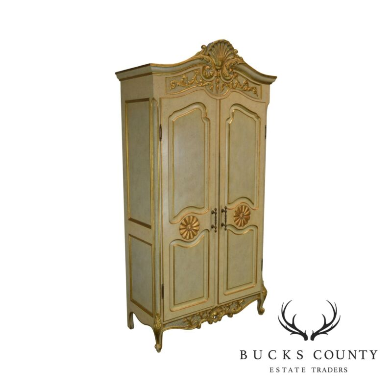 French Rococo Style Gilt Accent Custom Faux Painted Armoire