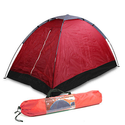 2 Mann Zelt Camping, (LxBxH) 2x1,2x1 m Festivalzelt Zweimannzelt Igluzelt rot