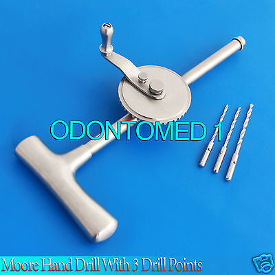2 Moore Hand Drill With 3 Drill Points Orthopedic Instruments