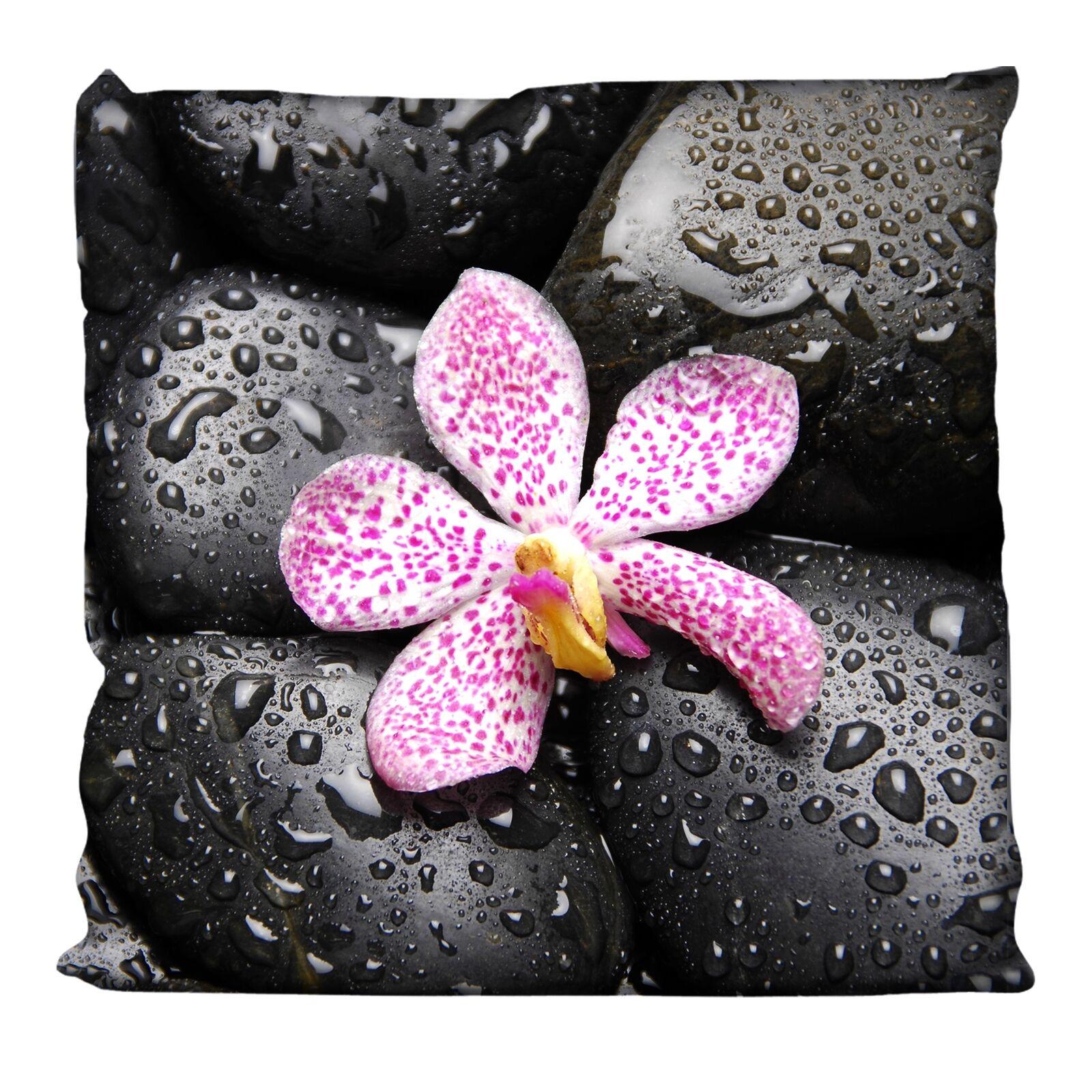 Dekokissen 38 x 38 cm Steine Orchidee schwarz Zierkissen Sofakissen