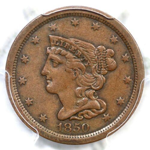 1850 C-1 R-2 PCGS XF 40 Braided Hair Half Cent Coin 1/2c