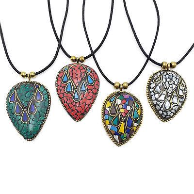 - Brass Pendant Necklace Tibetan Bajalia Turquoise Coral Mosaic Wholesale NK7542
