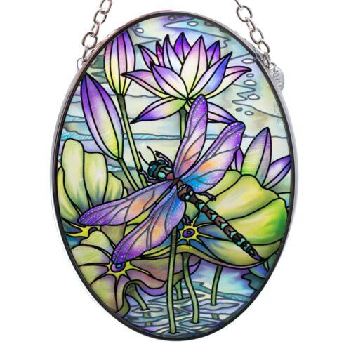 "Dragonfly Hand Painted Glass Suncatcher By AMIA Studios 4.5"" x 3.25"""